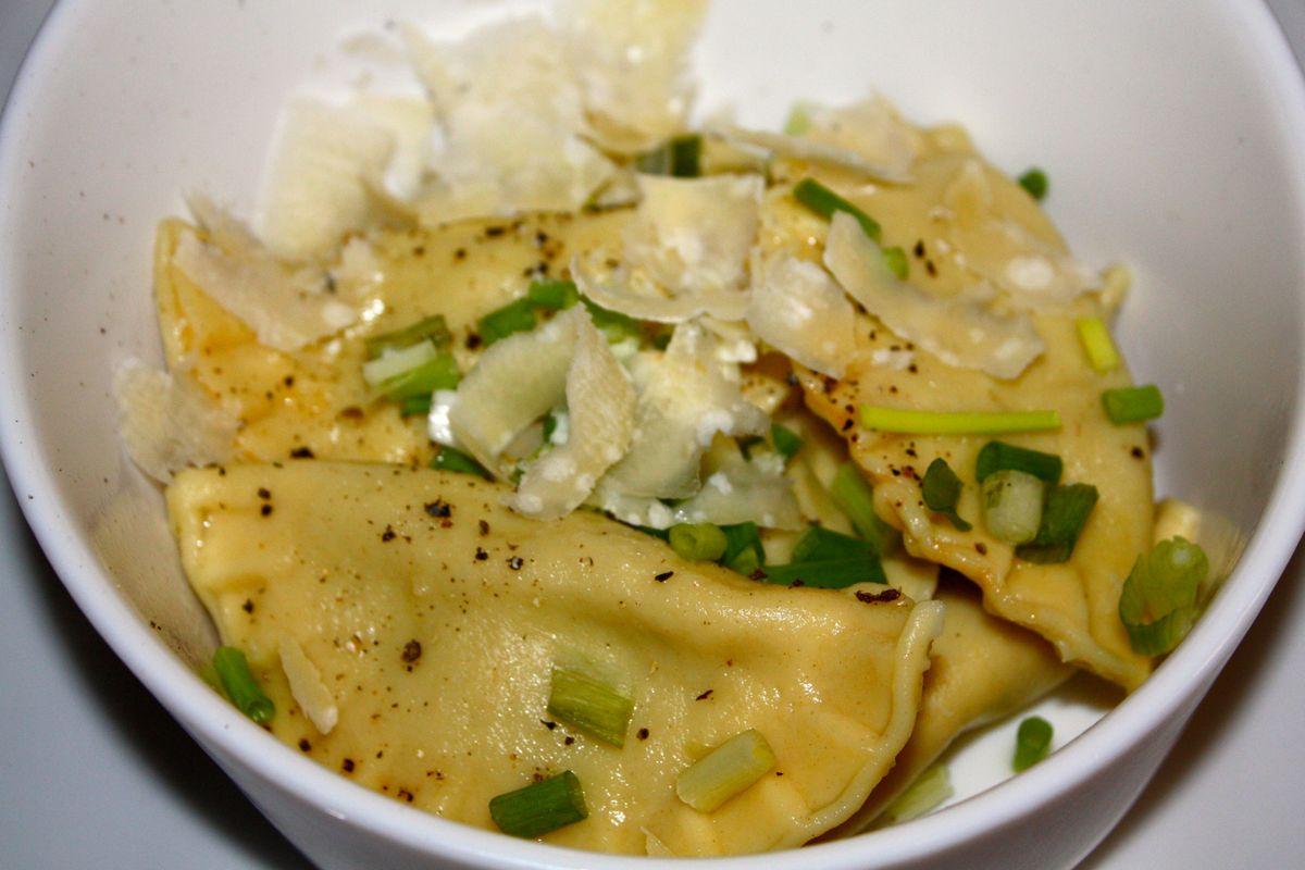 Ravioles de courgette & Espuma au champignon