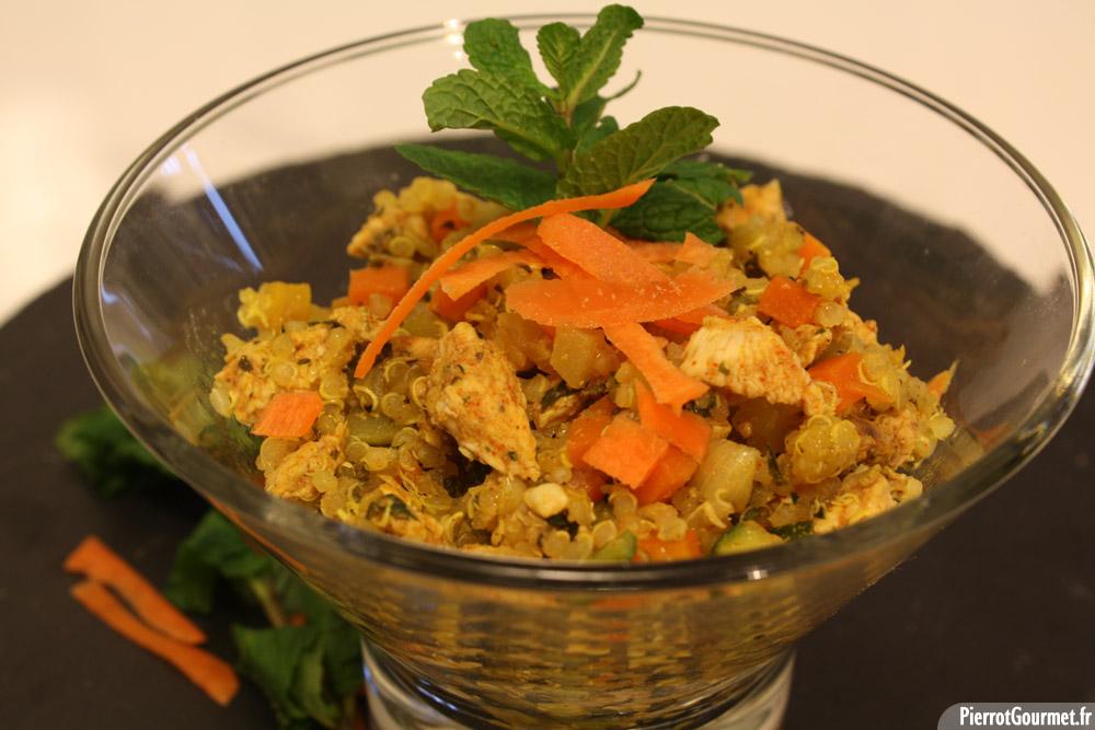 Poulet mariné, Quinoa et petits légumes